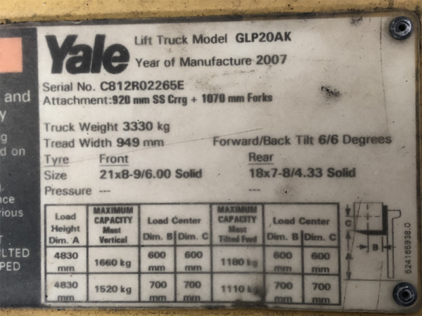 Yale 2t Container Mast